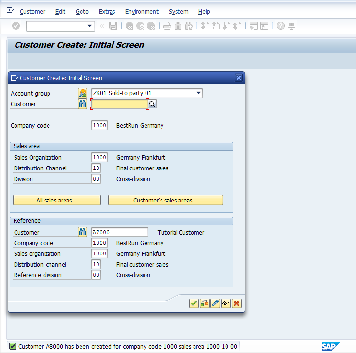 SAP Customer Master Data – Save confirmation