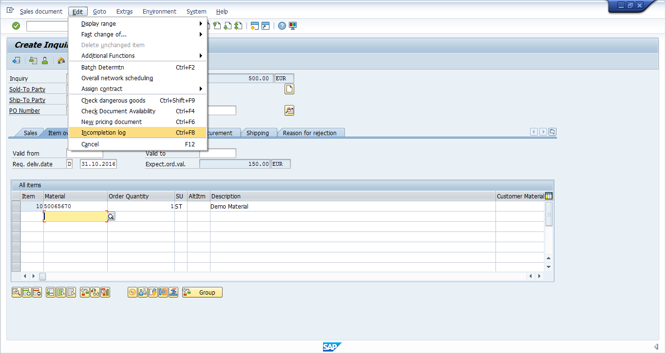 SAP SD Inquiry - Incompletion Log