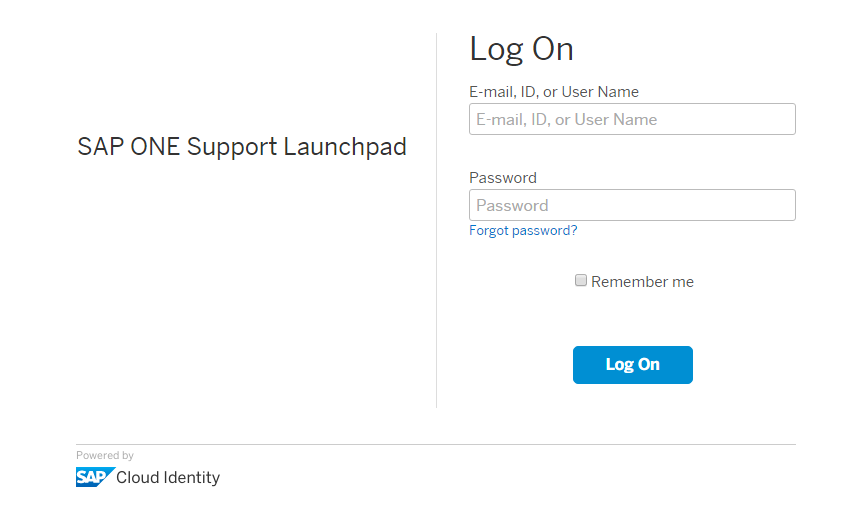 SAP Support Log On