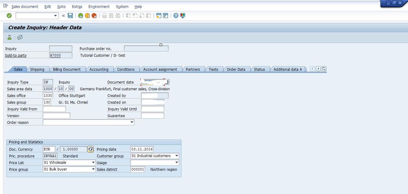 SAP SD Inquiry - Sales Header Data