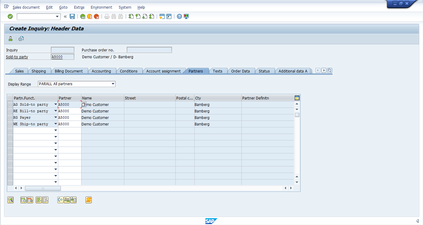 SAP SD Inquiry - Header Partners