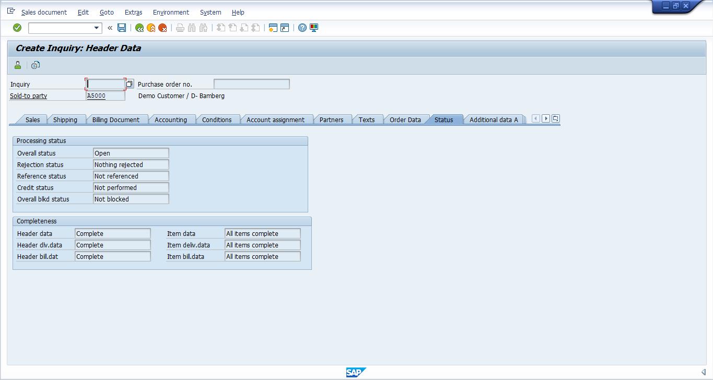 SAP SD Inquiry - Header Status Tab