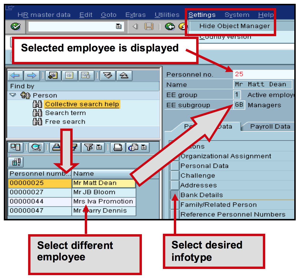 Infotype selection per employee