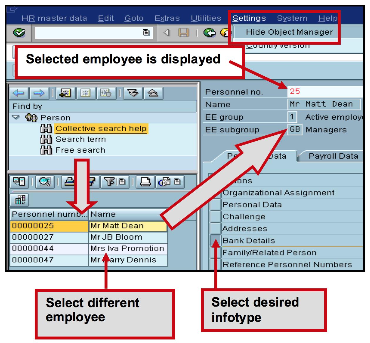 Infotype selection per employee