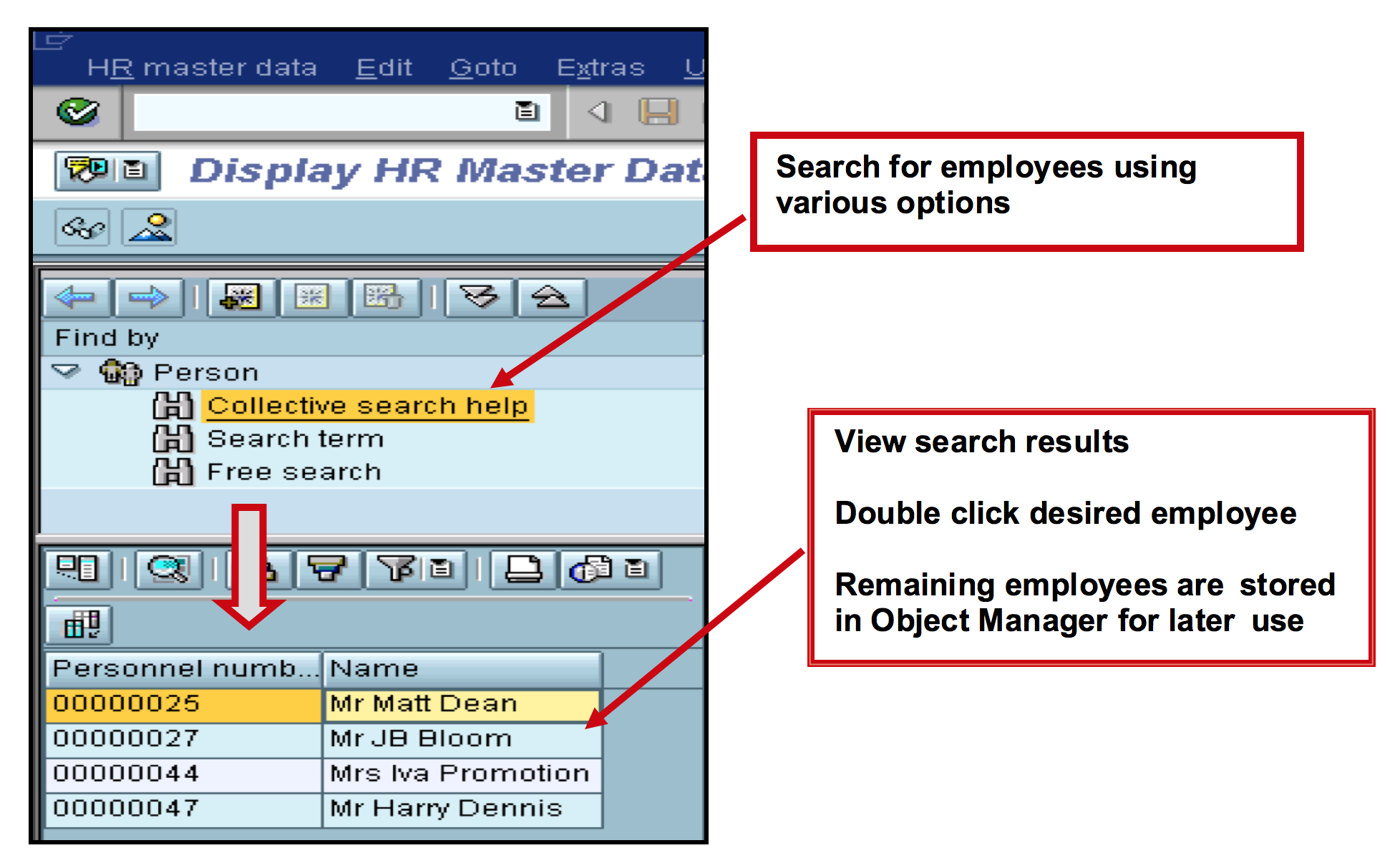 Object navigator in Maintain HR Master Data
