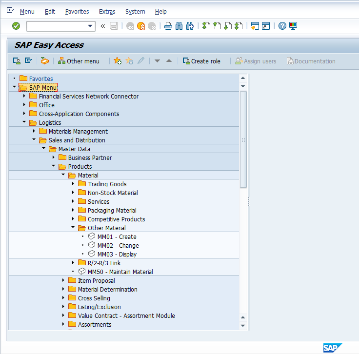 Find MM01 in the SAP Menu Tree