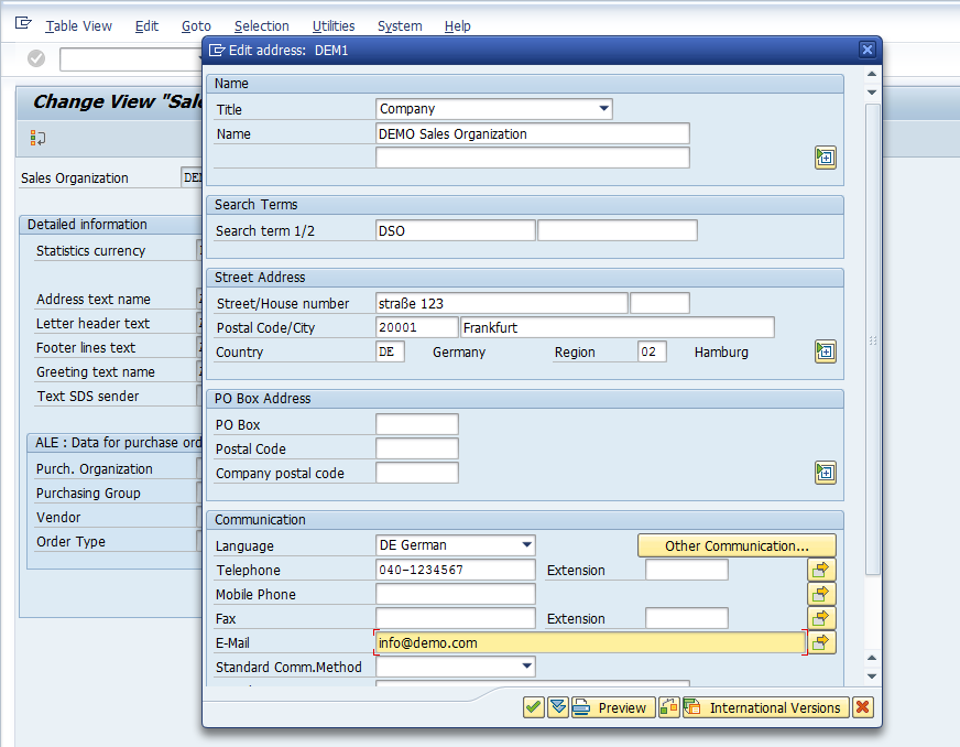 Sales Organization Configuration – Define Sales Organization > Customizing > Details
