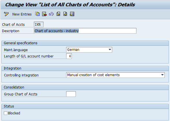 Define SAP Chart of Accounts