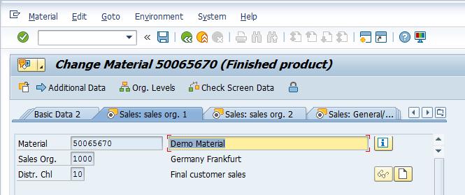 Material Master – Sales: sales org. 1 > Header
