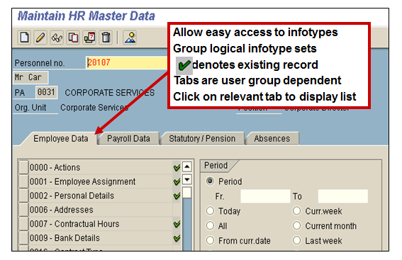 Infotype Menus in Maintain HR Master Data