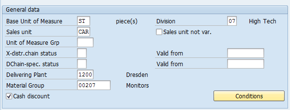 Material Master – Sales: sales org. 1 > General data