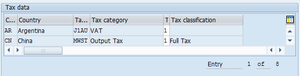 Material Master – Sales: sales org. 1 > Tax data