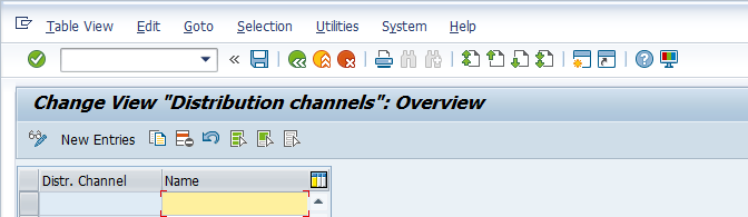 Distribution Channel Configuration – Defining Distribution Channel > New Entries