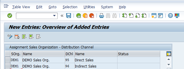 Distribution Channel Configuration – Assigning Distribution Channel > Two New Entries