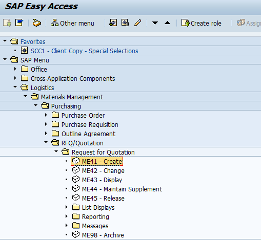 SAP Menu Path to Create a Request for Quotation