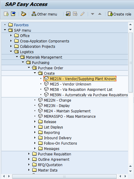 SAP Menu Path to Create a Purchase Order