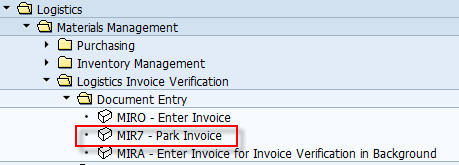 SAP Menu Path to Enter an Invoice from the Vendor