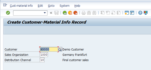 SAP Customer-Material Info Record - Initial Screen