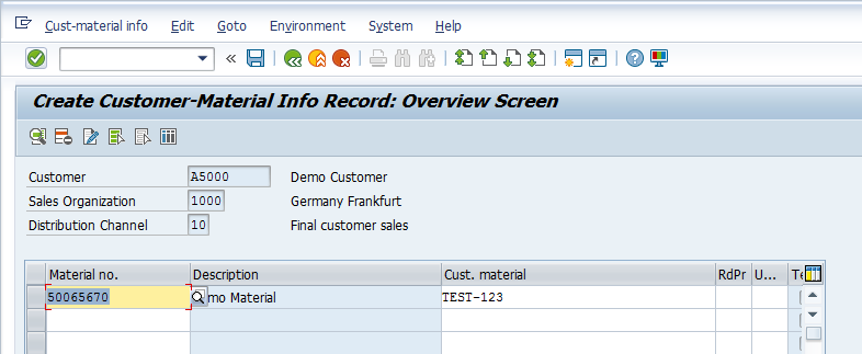 SAP Customer-Material Info Record - Entry Screen