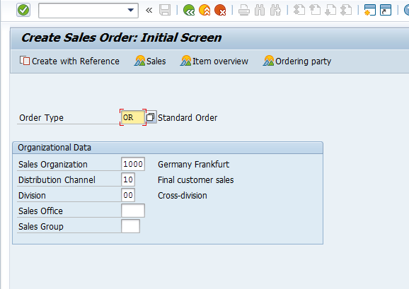 Create Sales Order – Order Type Selection Screen