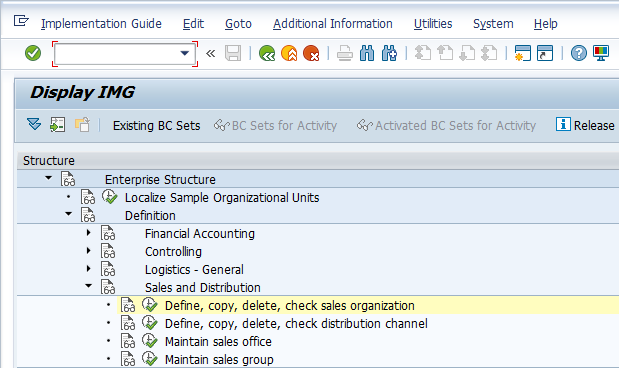 Sales Organization Configuration – Define Sales Organization
