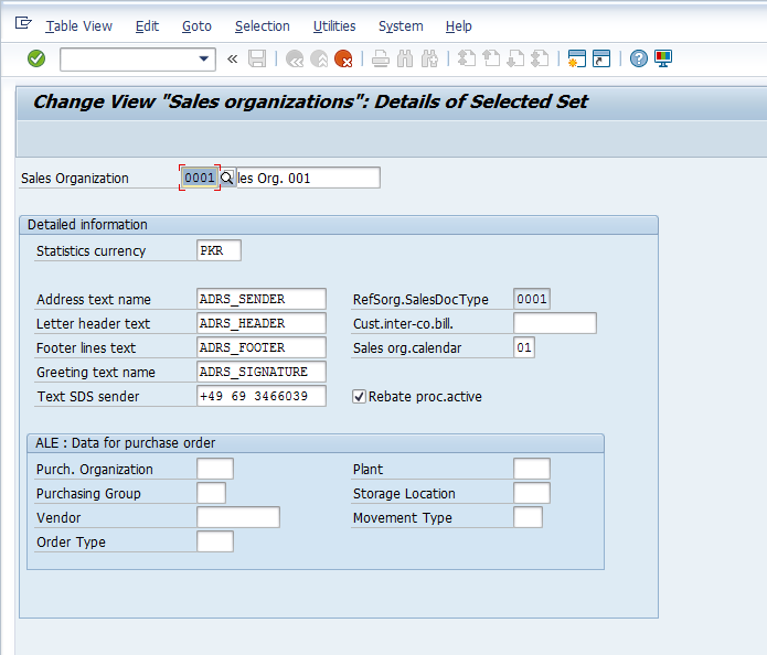 Sales Organization Configuration – Define Sales Organization > Copying