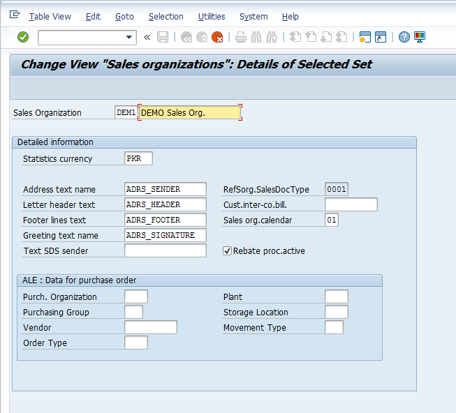 SAP Sales Organization Configuration – Define Sales Organization > Customizing