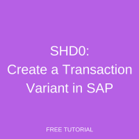 SHD0 – Create a Transaction Variant in SAP