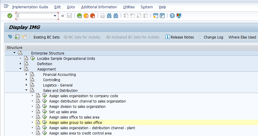 Sales Group Configuration – Assigning Sales Groups Activity in SPRO