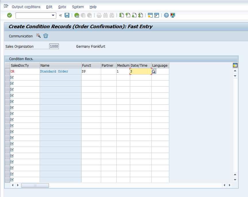 Output Master Data - Entry Screen - Sample Data