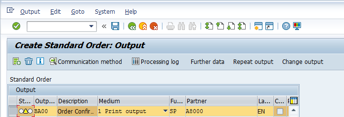 Create Sales Order – Order Entry Screen > Extras > Output > Header > Edit > Communication Method