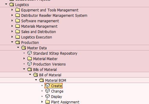 Create an SAP Bill of Materials Transaction in SAP Menu