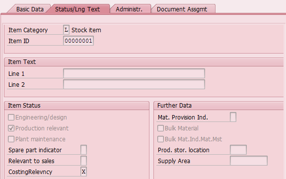 Status/Long text in a Component of SAP Bill of Materials