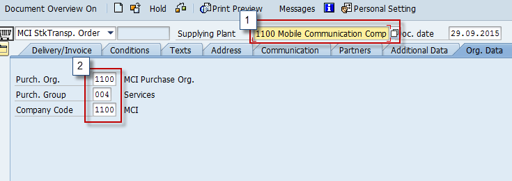 Enter Supplying Plant, Purchasing Organization, and Company Code in STO