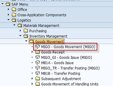 MIGO Transaction in SAP Menu