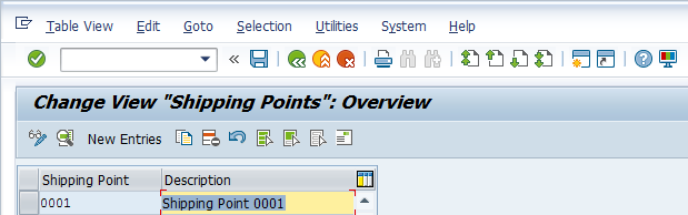 Shipping Point Configuration – Define Shipping Point - Existing Shipping Points