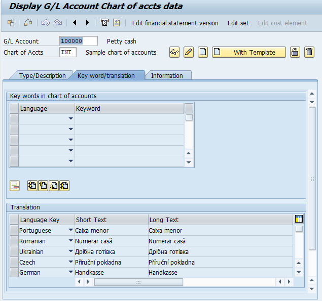 G/L Account Creation: At The Chart of Accounts Level (Tab 2)