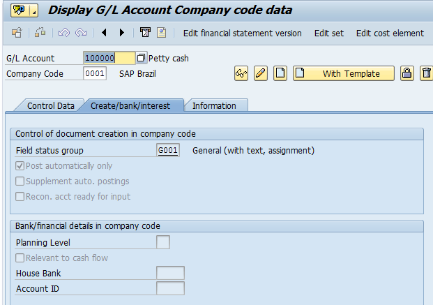 G/L Account Creation: At The Company Code Level (Tab 2)