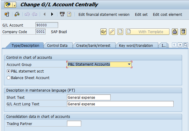 SAP P&L Statement Account (Transaction FS00)