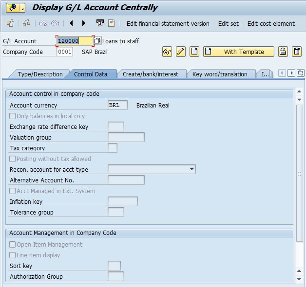 Creation of G/L Account at Company Code Level (Control Data Tab)