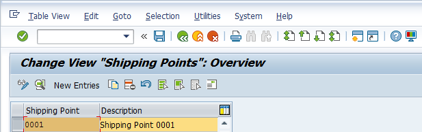 Shipping Point Configuration – Define Shipping Point > Choosing Copying Option