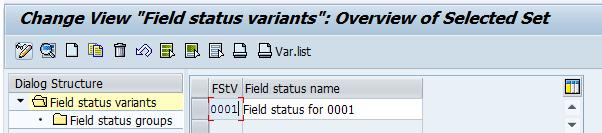 SAP Field Status Variant 0001