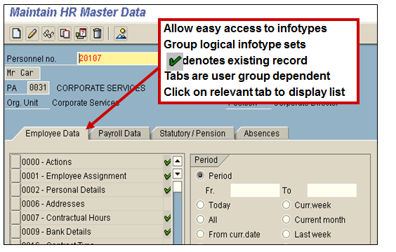 Infotype Menus (Transaction code PA20 or PA30)