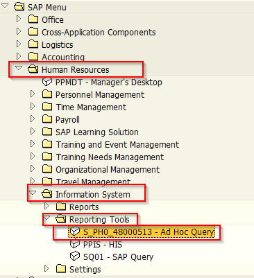 SAP Ad Hoc Query Transaction in SAP Menu