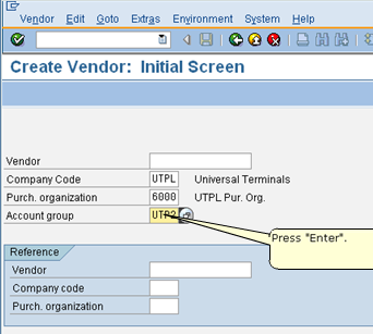 Initial Screen of SAP Vendor Master Record