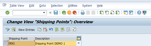 Shipping Point Configuration – Define Shipping Point > New Shipping Point