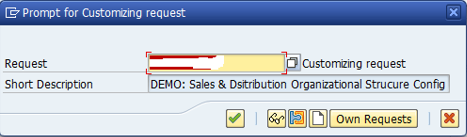 Shipping Point Configuration – Define Shipping Point > Saving Customizing