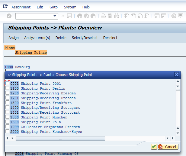 Shipping Point Configuration – Assigning Shipping Point To Plant - List of Shipping Points