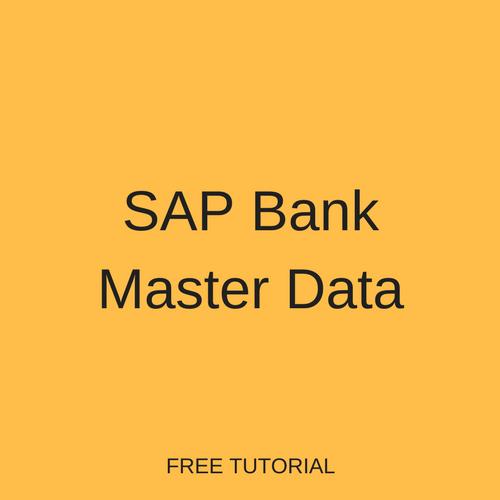 SAP Bank Master Data