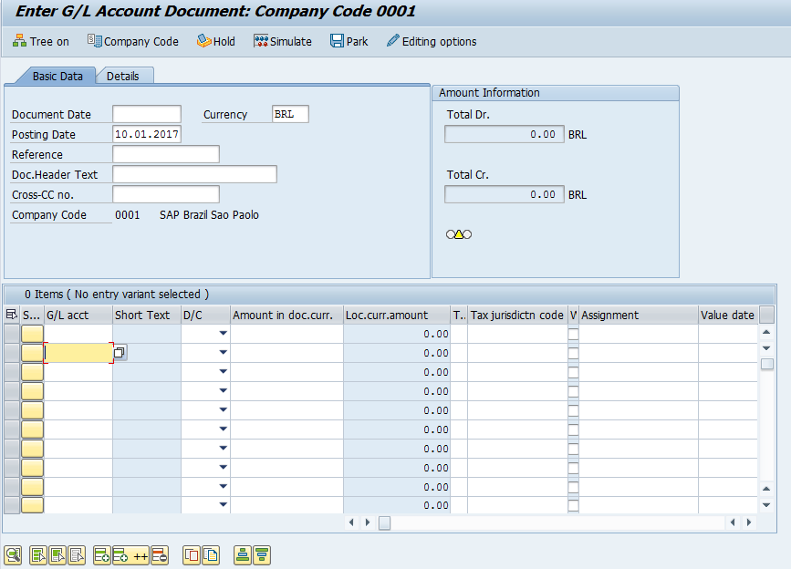 SAP FB50 Transaction – Initial Screen